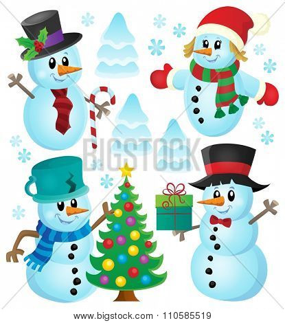 Christmas snowmen theme collection 1 - eps10 vector illustration.