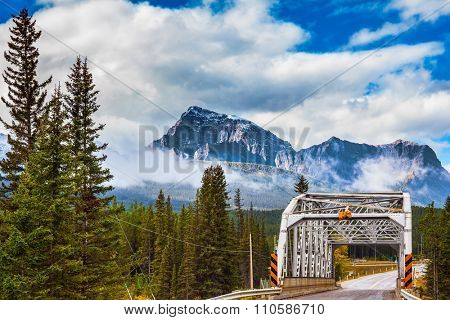 Road bridge in the reserve.  Canadian Rocky Mountains, Jasper National Park