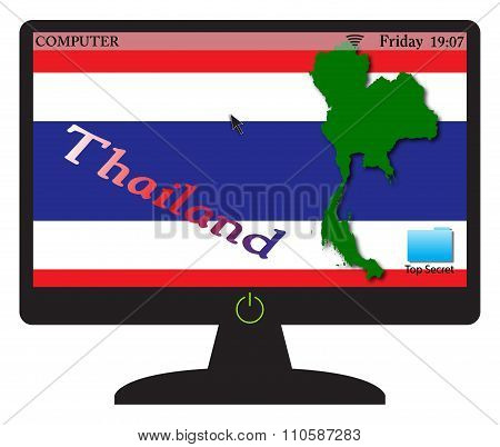 Thailand Computer Screen With On Button