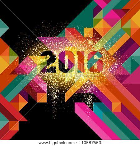 2016 in glitter, eps10 vector