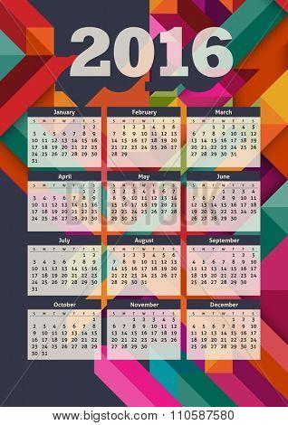 Colorful 2016 calendar, eps10 vector