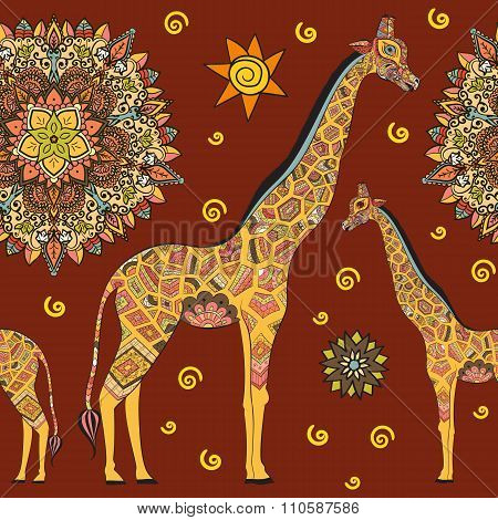 Beautiful adult Giraffe. Hand drawn Illustration of ornamental giraffe.  isolated giraffe on red bac