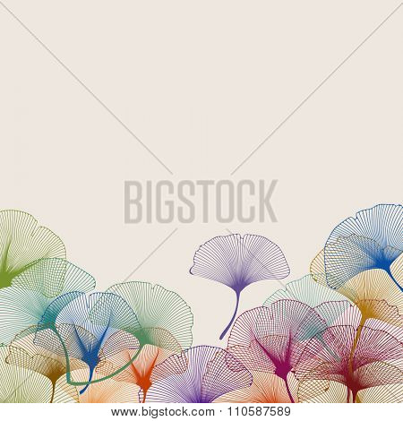 Background of colorful ginkgo leaves, eps10 vector