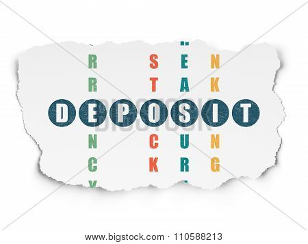 Currency concept: Deposit in Crossword Puzzle