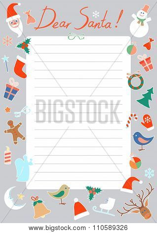 Vector Christmas letter to Santa