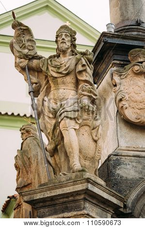 Detail of Column. Statue on main town square in Cesky Krumlov, C