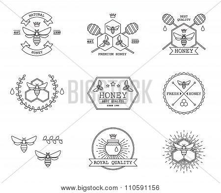 Honey labels vector set