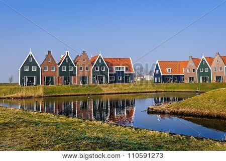 Colored Houses Of Marine  Park In Volendam, Netherlands