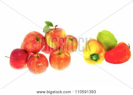 Red Ripe Apples And Sweet Pepper On A White Background