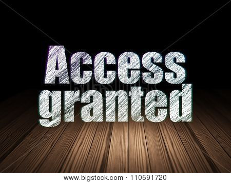 Privacy concept: Access Granted in grunge dark room