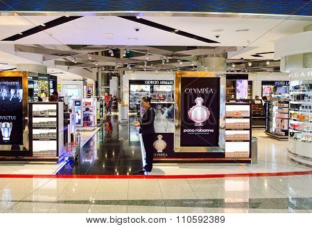 DUBAI, UAE - SEPTEMBER 08, 2015: interior of Dubai Duty Free. Dubai Duty Free is the largest single airport retail operation in the world