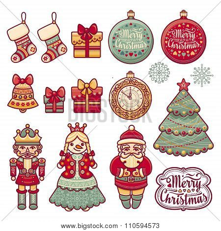 Set of color Christmas icon. New Year.