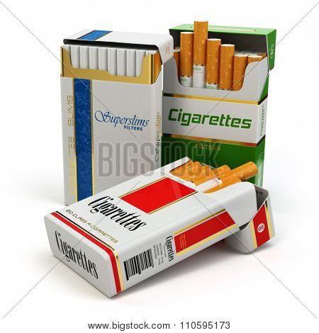 Opened packs of cigarettes isolated on white. 3d