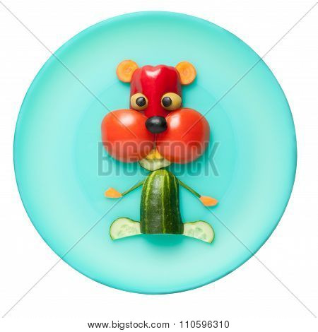 Hamster Made Of Vegetables On Green Plate