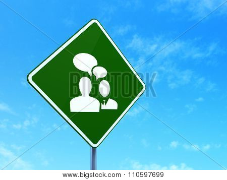 Business concept: Business Meeting on road sign background