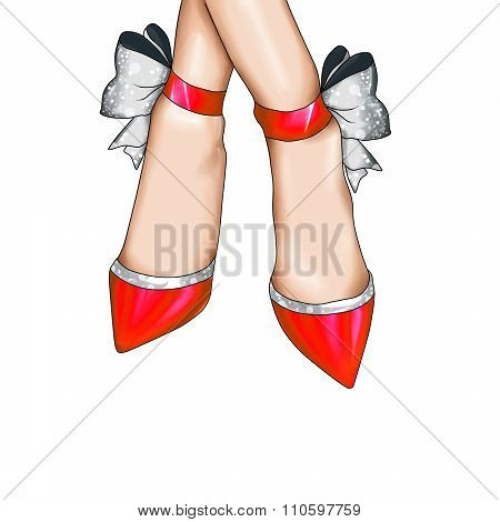 fashion Illustration - fashion hot pink shoes with glitter silver ribbon