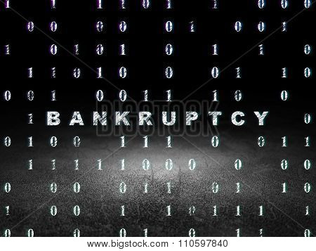 Business concept: Bankruptcy in grunge dark room