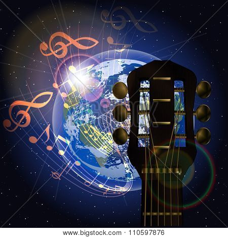 Music Planet And Neck Of The Guitar