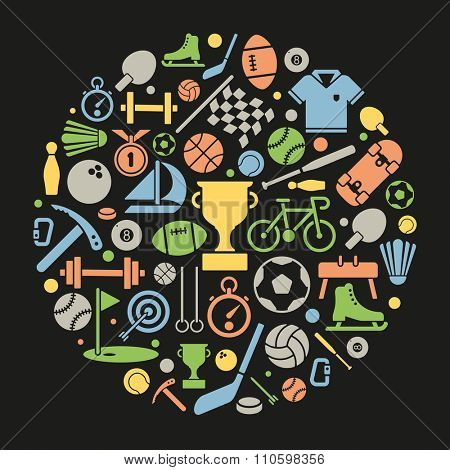 Sports Symbols Vector Illustration. Variety of sports equipment symbols arranged in circular shape on black background