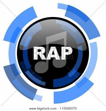 rap music black blue glossy web icon
