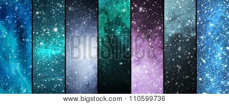 Blizzard, snowflakes, universe and stars. Winter backgrounds collection in a Christmas style.