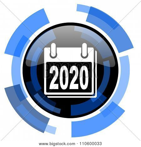 new year 2020 black blue glossy web icon