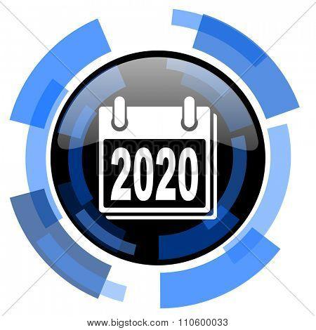 new year 2020 black blue glossy web icon
