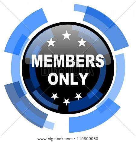 members only black blue glossy web icon