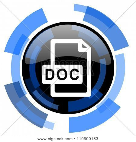 doc file black blue glossy web icon