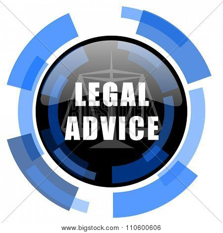 legal advice black blue glossy web icon