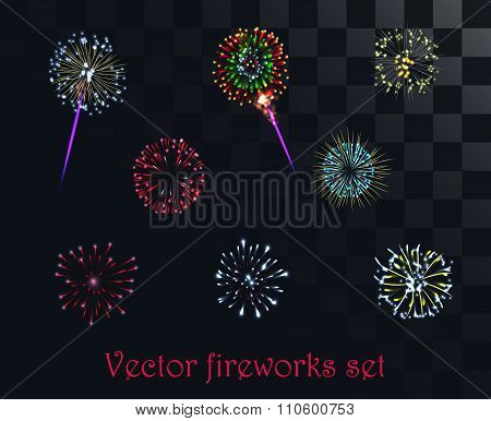 Vector festive patterned firework isolated on the alpha style background