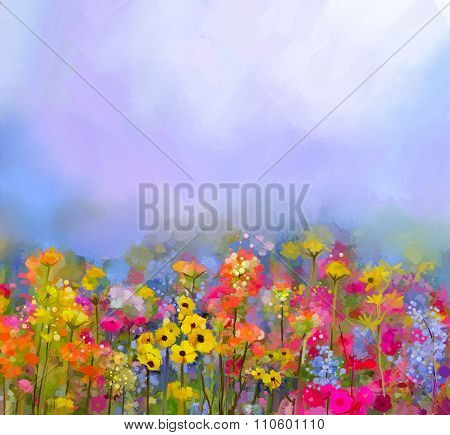 Oil Painting Of Summer-spring Flowers in fields. Meadow landscape with wildflower