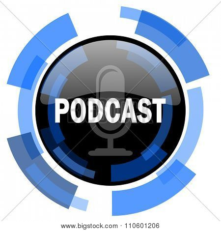 podcast black blue glossy web icon