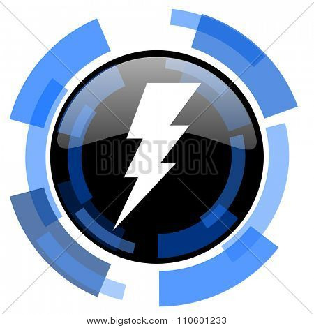 bolt black blue glossy web icon