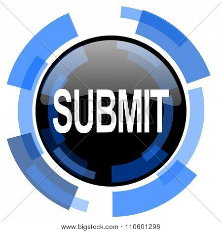 submit black blue glossy web icon