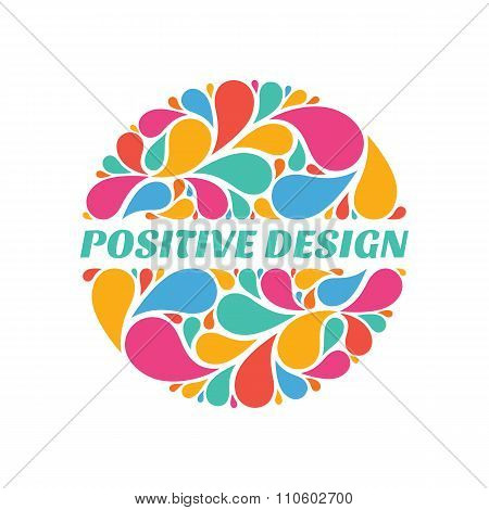 Positive design - abstract composition from colored petals in circle shape.