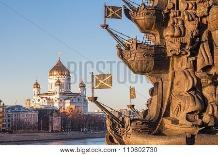 Cathedral Of Christ The Savior, In The Foreground Monument To Peter The Great, Moscow