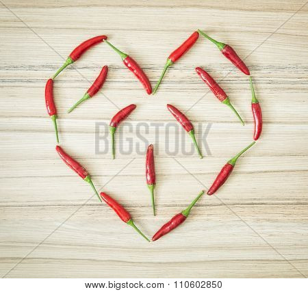 Chili Peppers Shaped In The Heart, Symbol Of Lovers