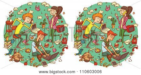 Find 20 Differences Visual Game. Solution In Hidden Layer