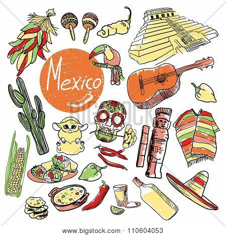 Set of tourist attractions Mexico.