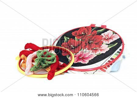 Embroidery Pattern In The Form Of Flowers To Embroidery Hoop Colored Threads