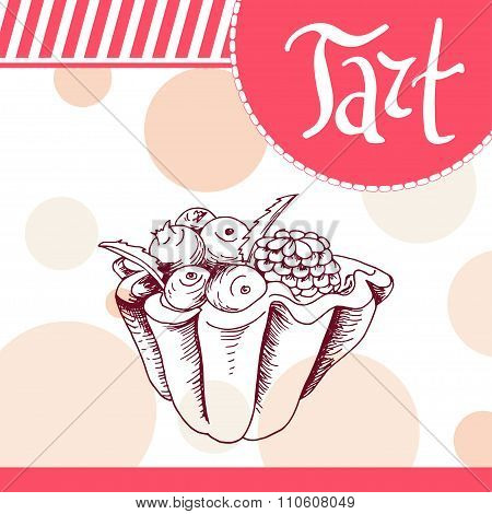 Vector Poster With Hand-drawn Tart. Delicious Food. Decorative Background With Typography Element. B