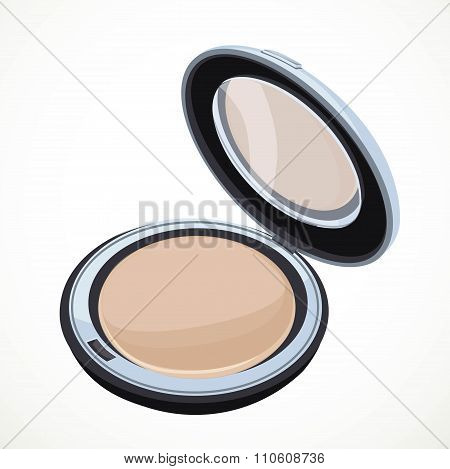 Cosmetic Beige Powder Isolated On A White Background