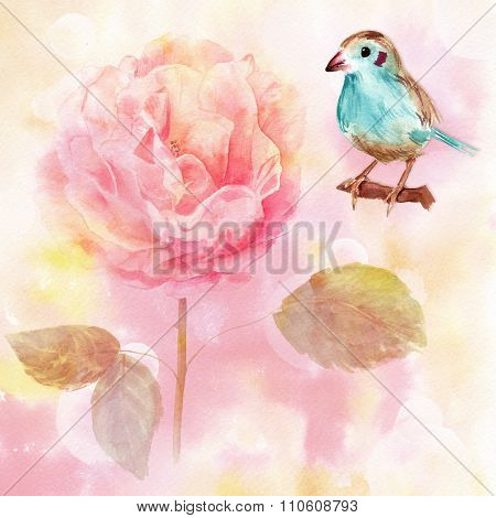 Vintage greeting card template with watercolour drawings of Victorian rose and cordon bleu