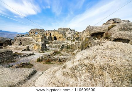 Uplistsikhe is an ancient rock-hewn town in eastern Georgia,