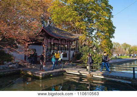 Chinese Wooden Gazebo On The West Lake
