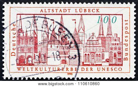 Postage Stamp Germany 1990 View Of Lubeck