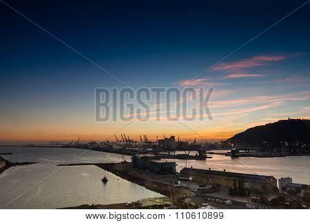 Barcelona, Spain - November 10, 2015: Panoramic View Of The Adossat Cruise Wharf And Cargo Port Of B