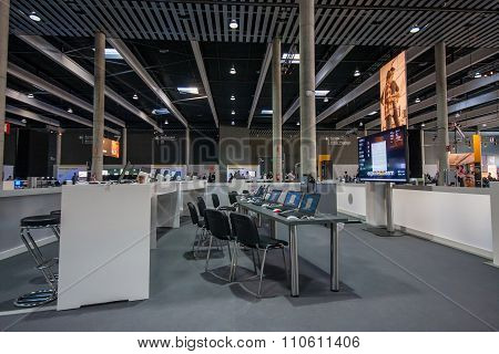 Barcelona, Spain - November 10, 2015: Training Zone With Notebooks On Tables At Sap Teched 2015 Conf