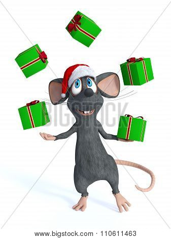 Cartoon Mouse Juggling Christmas Gifts.